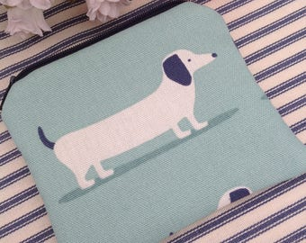 Blue daxi dog purse, dachshund gift, dachshund hound coin purse, small purse, zip purse, sausage dog gifts, dog gifts, uk sellers only