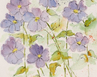 """Violets...4 Notecards-""""Sweet Sentiments""""  from my original watercolor"""