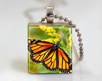 Butterfly Monarch - Scrabble Tile Pendant - Free Ball Chain Necklace or Key Ring