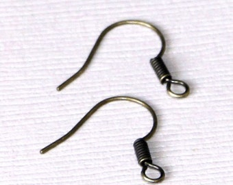 500 pcs of Antiqued brass fish Hook Earwire 17X15mm