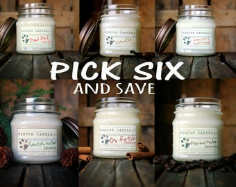 6 PACK / Mix and Match / bulk discount / 8 oz. Glass Mason Jar / Donation to Animal Rescue included