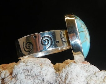 Native American Inspired Sterling Silver Ring and Turquoise Stone Native American Inspired