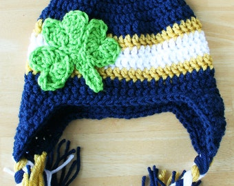 Notre Dame Cap, Notre Dame hat for kids, Clover hat, Crochet Toddler Hat, Shamrock hat, St. Patty's Day, 12 Month to 4T Sizes