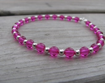 Beaded Ankle Bracelet- Hot Pink and Silver