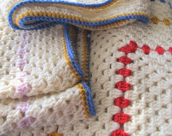Afghan wool granny square blanket,creamy white thrown