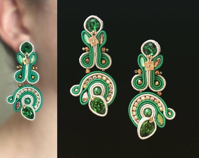 Green Swarovski Soutache Earrings