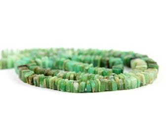 Chrysoprase Smooth Square Heshi Beads 1 Inch Strand Green Brown Precious Gemstone