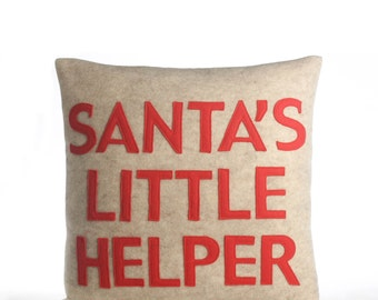"NEW! Throw Pillow, Decorative Pillow, ""Santa's Little Helper"" pilow, 16 inch, NEW!"