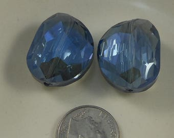 Extra Large Faceted Oval Bean Crystal Beads 24x20mm Blue AB (Qty 2) PH24x20BN-BlueAB