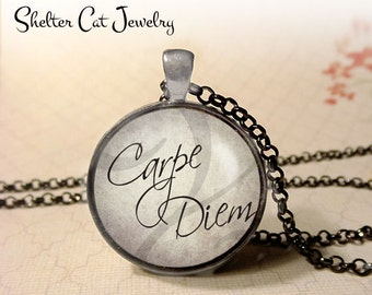 """Carpe Diem Necklace - 1-1/4"""" Circle Pendant or Key Ring - Wearable Photo Art Jewelry - Seize The Day, Motivation, Inspiration, Gift"""