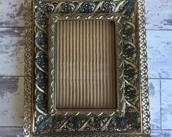 Vintage Metal Filligree Picture Frames - 8 x 10 - 5 x 7 Gold-tone Brass