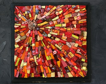 FUOCO - FIRE - Mosaic Wall Art Plaque - 4 Elementi series - 4 Elements series