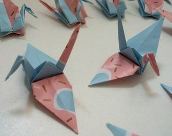 Set of origami cranes: doughnuts Collection
