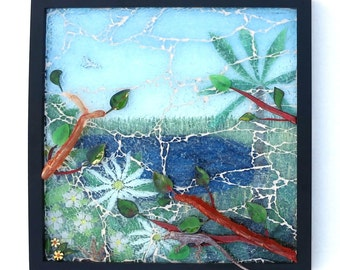 Misty Morning, Mixed Media Mosaic Wall Art, Tropical Landscape Glass Art, Layered Glass Collage, Artisan Torch Enameled Lizard and Flowers