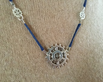 Steampunk silver necklace