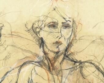 """Originalzeichnung, """"Nude XXXIII"""", weiblicher Akt, Mischtechnik auf Papier, Aktzeichnung, 31x36 cm"""