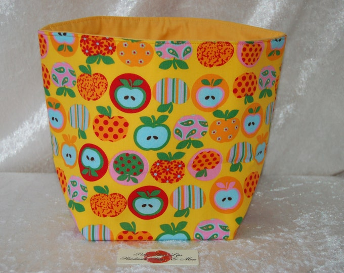 Handmade Fabric Basket Storage Bin Tall Apples