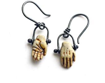 Hand Earrings. Clay Hand Earrings. Raku Ceramic Hands Earrings. Hand Earrings Frida. Rustic Sterling Silver Dangle Earrings.