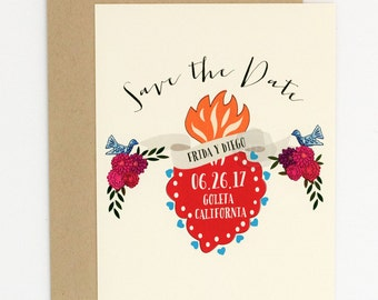 Wedding Save the Date - Mexican Corazon Sacred Heart - Hand Drawn Wedding Save the Date (Frida Suite)