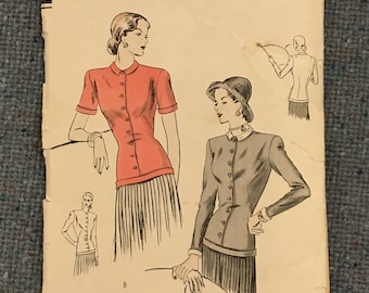 Vogue vintage sewing pattern #5995: blouse, 1940s (34 bust)