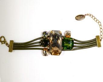 Green Leather Bracelet with Swarovski Crystals