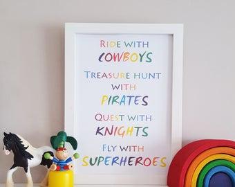 Boy's Bedroom Art - Superhero Print - Kids Adventure Wall Decor - Pirate Poster - Playroom Wall Art - Nursery Print - Baby Shower Gift