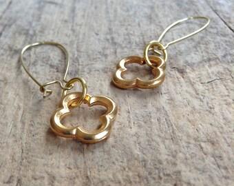 CLEARANCE, Gold Quatrefoil Earrings, Romantic Jewelry, Simple Gold Earrings, Moroccan Earrings, Bohemian Earrings, Bohemian Jewelry