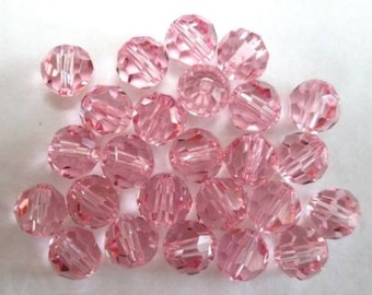 40 Swarovski 5mm LIGHT ROSE Round Crystals, Article #5000, New from Vintage Package