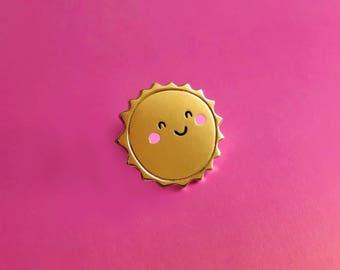 Happy Sunshine Enamel Lapel Pin | cute hat pin badge