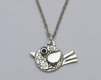 Cute Silver Bird Necklace, Handmade Silver Bird Necklace, Sapphire Necklace, Bird Lover Jewelry, Bird Lover Necklace, Bird Watcher Gift