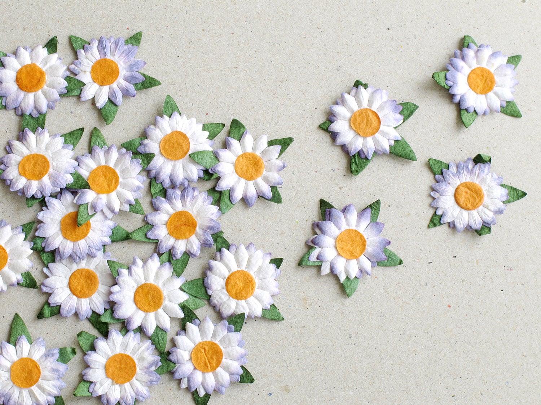 25mm die cut paper flowers 20 flat purple daisy with orange centre 200 mightylinksfo
