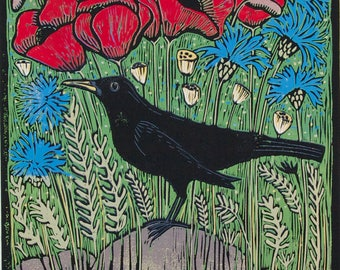 linocut, Summer Fields, blackbird, blue, cornflowers, poppies, bird, nature, landscape, printmaking, home interior, red, blue, green,