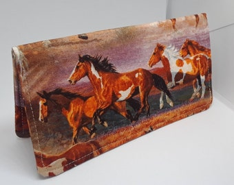 Ladies Checkbook Cover Coupon Holder Clutch Purse Billfold Ready-Made Herd of Horses