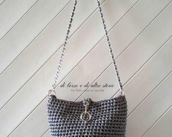 SONIA-Grey Crochet bucket bag, with chain shoulder strap