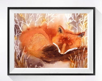 Nursery Watercolor Art Print Animals in watercolor painting Fox nature art decor Animals in watercolour painting, Red fox painting. N