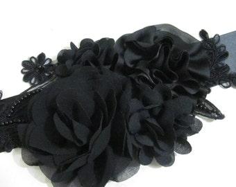 Black Bridal Sash /  Flower Sash / Ribbon Sash