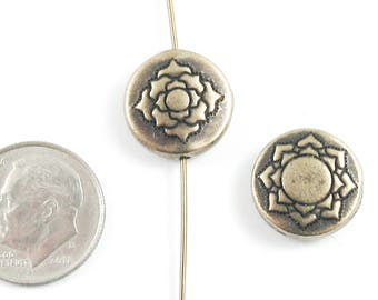 TierraCast Double-Sided Pewter Puffed Coin Beads-Brass Oxide LOTUS 14mm (2 Pcs)