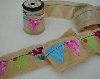 Fabric Ribbon with Bunting Flags Handmade and Hand dyed