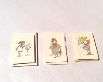 Vintage 1980s Set of 22 Mini Cards w Mini Envelopes w/adorable illustrations/lithography/marked Toni, Ohio/Tree/Girl/Umbrella