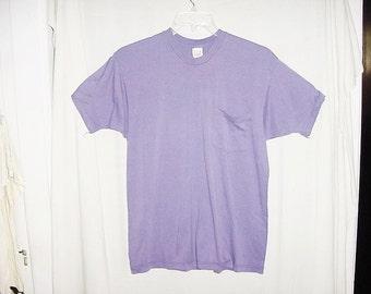 Vintage 80s Purple XL Pocket Tshirt 50/50 Cotton Poly Blend
