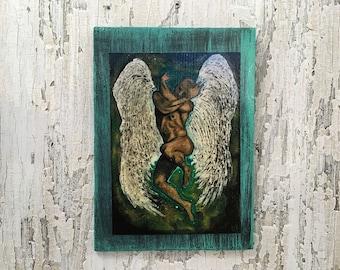 Guardian Angel Wall Art by artist Rafi Perez Original Artist Enhanced Print On Wood