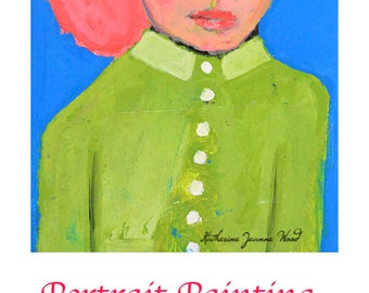 Green Pea Coat Portrait Painting Acrylic Mixed Media Collage Painting. Pink Hair Girl Portrait. Small Home Wall Art.