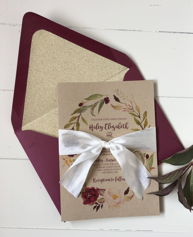 Rustic Burgundy Wedding Invitation Elegant Wedding