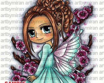 Digital Stamp - Faylinn (#315), Digi Stamp, Coloring page, Printable Line art for Card and Craft Supply