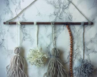 "14"" x 12"" Gray, white and wooden bead mixed media boho wall hanging"