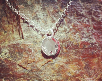 Personalized Handstamped Sterling Silver Coin Pendant (medium)