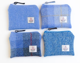 Small blue purse, HARRIS TWEED change purse, choice of fabrics, blue tartan purse