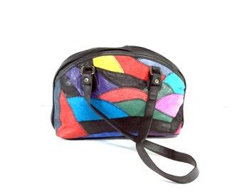 80s Patchwork Vintage Leather Shoulder Bag - Colorful Leather Bag, Hippie Boho leather patchwork purse black red blue yellow