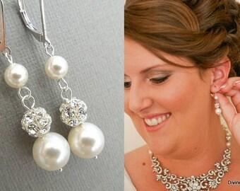 bridal rhinestone earrings, Pearl bridal earrings, chandelier earrings, rhinestone earrings, ivory swarovski pearl earrings, pearl, CLAIRE