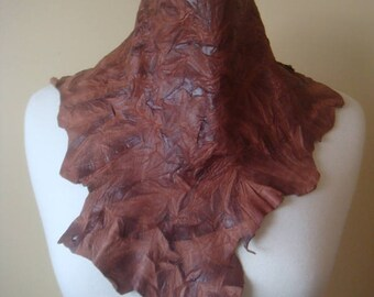 Brown Leather Scarf - Leather Necklace - Boho Necklace - Leather Statement Necklace -Boho Scarf - Coachella - Neck Wrap - Leather Cowl
